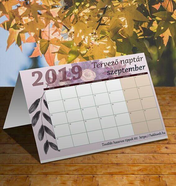 tervező naptár szeptember