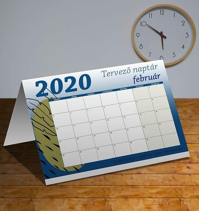 februrái tervező naptár