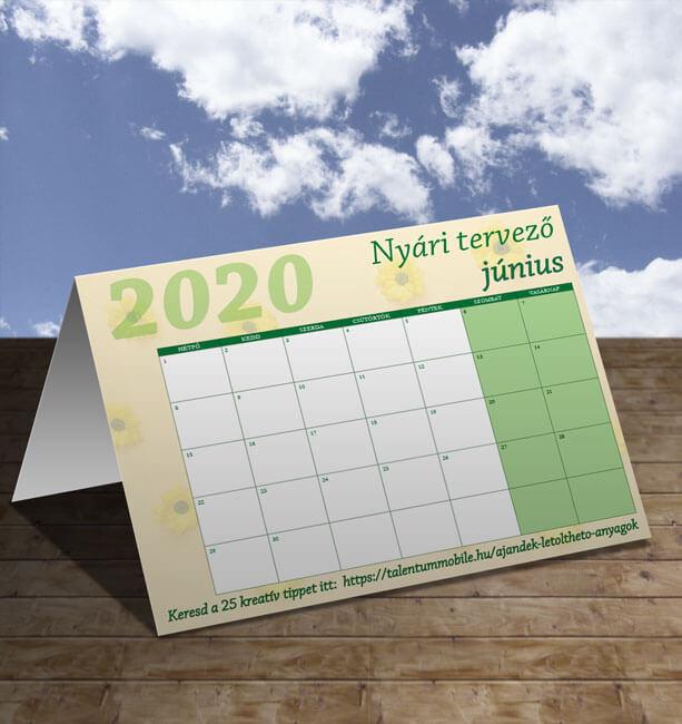 Letölthető júniusi tervező naptár