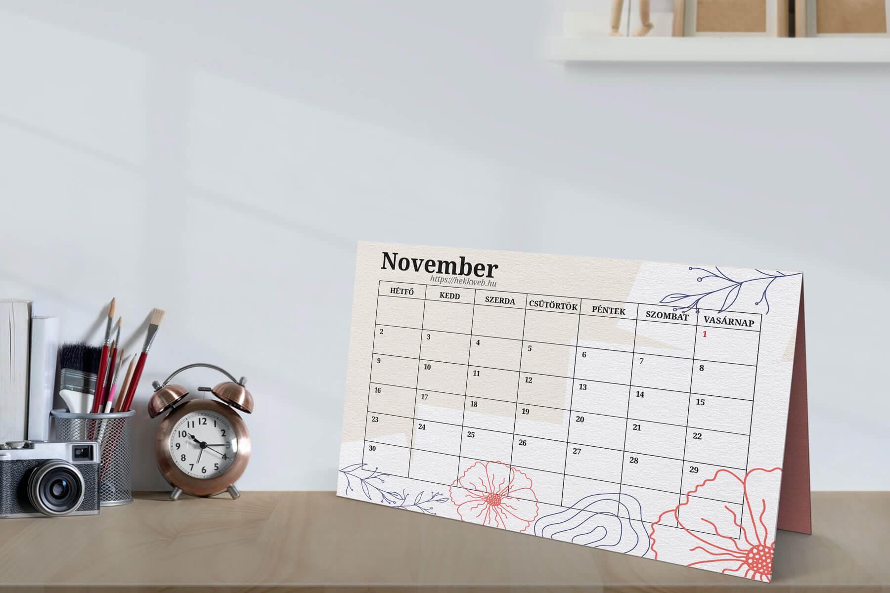 Letölthető novemberi tervező naptár
