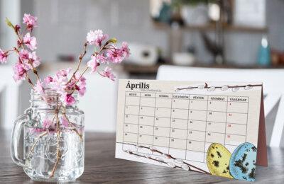 Letölthető áprilisi tervező naptár 2021